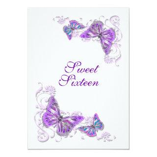 Purple white birthday engagement wedding invitation