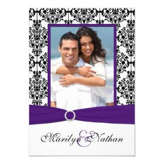 Purple, White, Black Damask Photo Wedding Invite