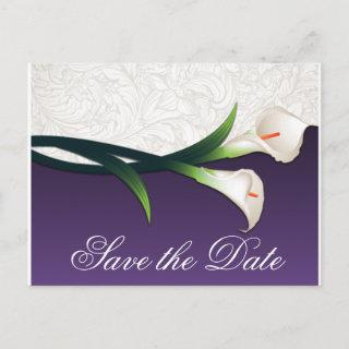 Purple & White Calla Lily Wedding Save the Dates Announcement Postcard
