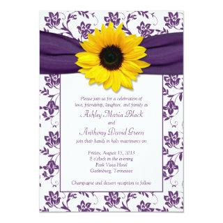 Purple White Damask Sunflower Wedding Invitations