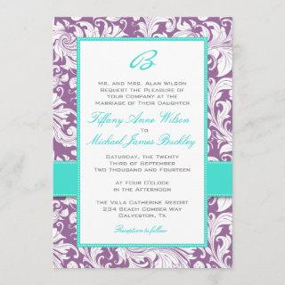 Purple white damask turquoise wedding invitation