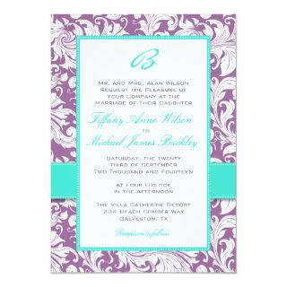 Purple white damask turquoise wedding Invitations