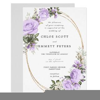 Purple White Rose Floral Waterolor Wedding Invitations
