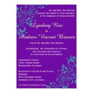 Purple with Turquoise Swirls Wedding Ivitation Invitation