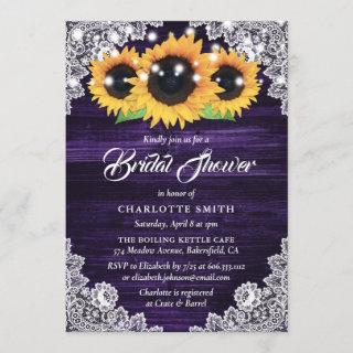 Purple Wood and Lace Sunflower Bridal Shower Invitations