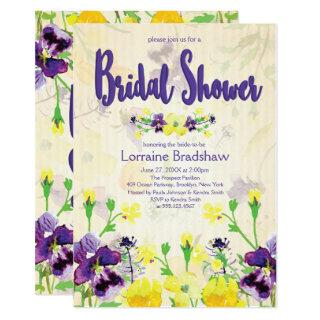 Purple & Yellow floral Bridal Shower Invitations