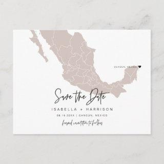 QUINN- Mexico Map Save the Date Moveable Heart! Postcard