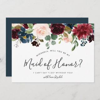 Radiant Bloom Be My Maid of Honor Card