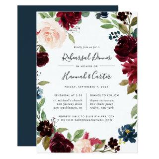 Radiant Bloom Floral Rehearsal Dinner Invitation