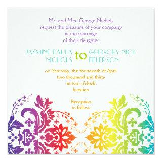 Rainbow colors damask wedding invitation