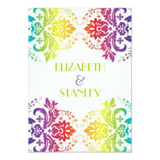 Rainbow colors damask wedding Invitations