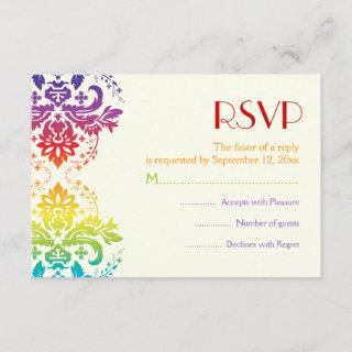 Rainbow colors damask wedding RSVP