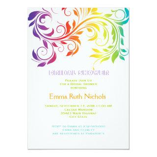 Rainbow colors scroll leaf wedding bridal shower Invitations
