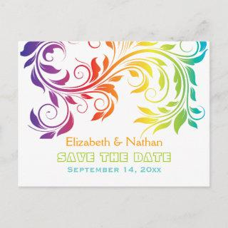 Rainbow colors scroll leaf wedding Save the Date Announcement Postcard