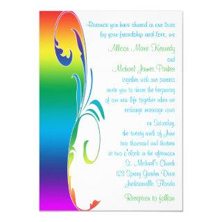 Rainbow Colors Scrolled Wedding Invitations