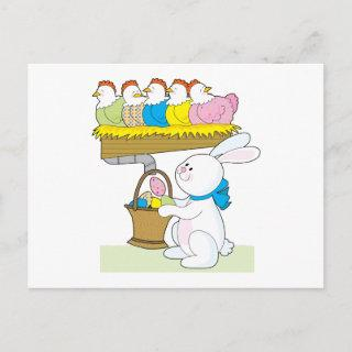 Rainbow Easter Chickens Holiday Postcard