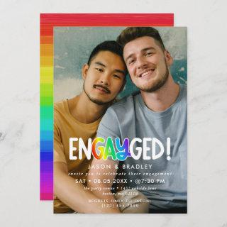 Rainbow Engayged Big Photo Gay Engagement Party Invitations