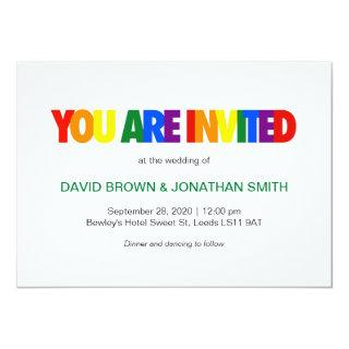 Rainbow Flag Colors Gay Wedding Invitations