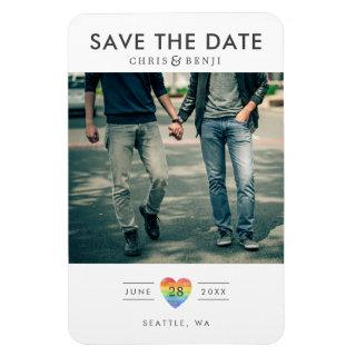 Rainbow Heart LGBTQ Save the Date with Photo Magnet