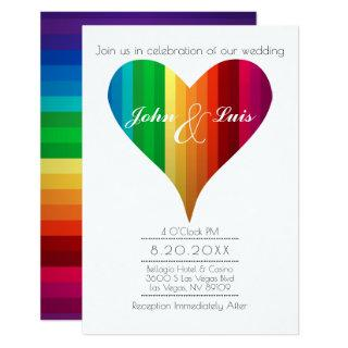 Rainbow Heart Wedding Invitations