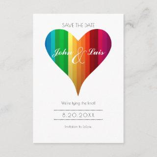 Rainbow Heart Wedding Save The Date