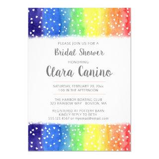 Rainbow Hearts Bridal Shower Invitation