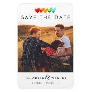 Rainbow Hearts Save the Date with Photo Magnet