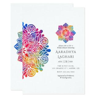 Rainbow Mandala Indian Bridal Shower Invitations