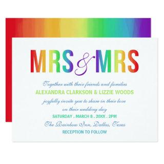Rainbow Mrs & Mrs | Lesbian Wedding Invitations