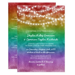 Rainbow Ombre String Lights Details Gay Wedding Invitations