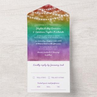Rainbow Ombre String Lights Gay Wedding All In One