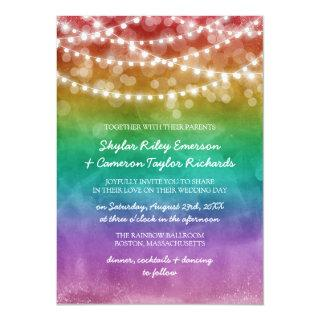 Rainbow Ombre String Lights Gay Wedding Invitations