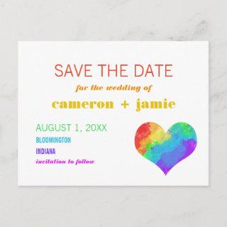 Rainbow Paint Heart Gay Lesbian Save the Date Announcement Postcard