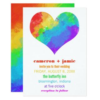 Rainbow Paint Heart Gay Lesbian Wedding Invitation