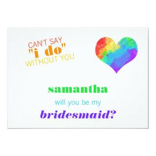 Rainbow Paint Heart Lesbian Wedding Bridesmaid Invitation