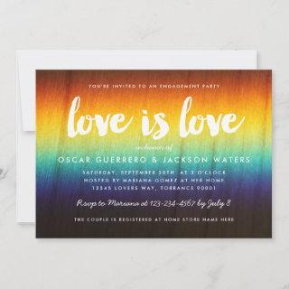 Rainbow Prism Love is Love Gay Engagement Party Invitations
