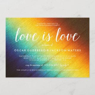 Rainbow Prism Love is Love Gay Party Invitations