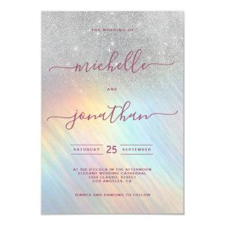 Rainbow Silver Glitter Holographic Wedding Invitations