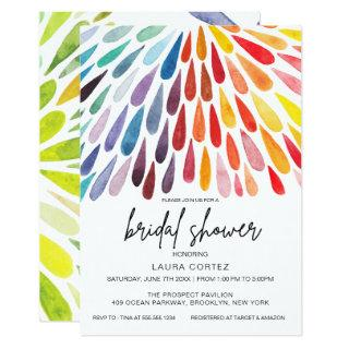 Rainbow Watercolor Bridal Shower Invitations
