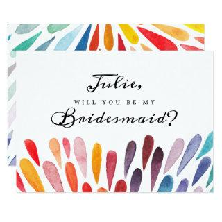 Rainbow Watercolor Bridesmaid Card