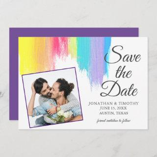 Rainbow Watercolor LGBT Photo Purple Save the Date Announcement
