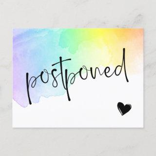 Rainbow Watercolor Wash Postponed Wedding Announcement Postcard