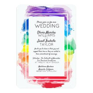 Rainbow Watercolors Collection Wedding Invitations