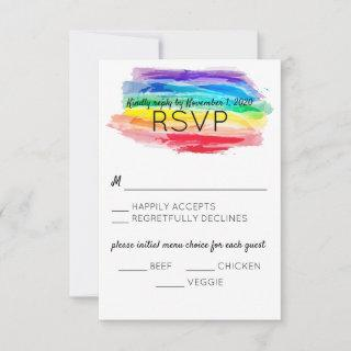Rainbow Watercolors Wedding Reply Card