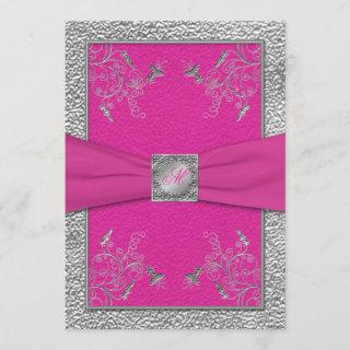 Raspberry Pink and Pewter Monogrammed Invitation