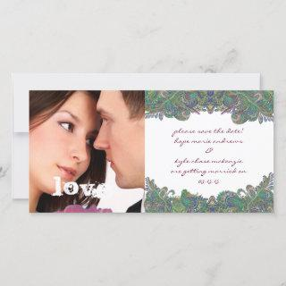 Raspberry Vintage Floral Save The Date Photo