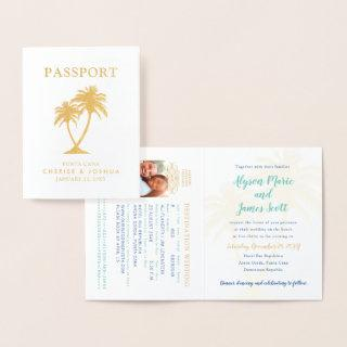 Real Foil Palm Tree Passport Wedding Invitations