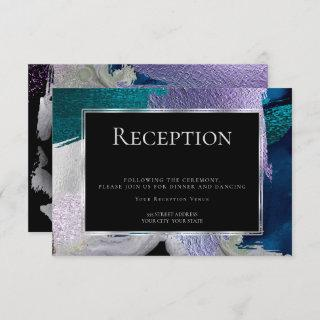 Reception | Modern Faux Metallic Teal Violet Invitations