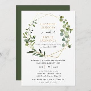 Reception Only Gold Geometric Greenery Wedding Invitations