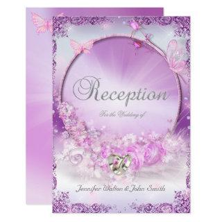Reception Wedding Pink Lilac Rings Butterfly Invitation